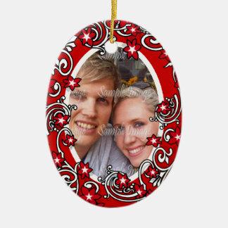 Première PHOTO de mariage de Noël Ornement Ovale En Céramique