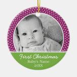 Première photo de Noël du bébé - à simple face Ornement De Noël
