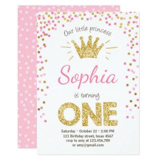 Première princesse Gold Pink d'invitation Carton D'invitation 12,7 Cm X 17,78 Cm