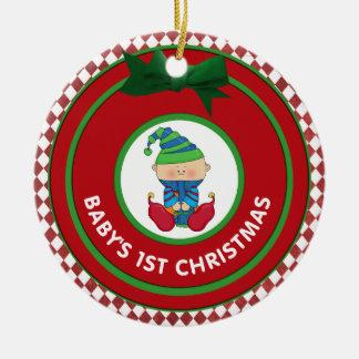 Premières vacances Elf de Noël de Babys Ornement Rond En Céramique