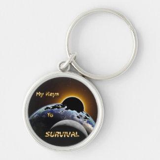 Premium  Keychain w/ Earth, Sun & Moon - Survival