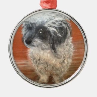 "Premium round ornamentation "" portrait dog "" metal ornament"