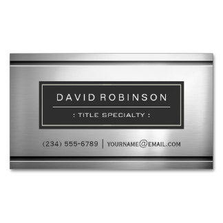 Premium Silver Metallic Stainless Steel Look Magnetic Business Card