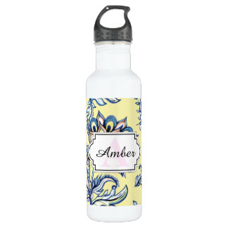 Premium watercolor hand drawn floral batik pattern 710 ml water bottle