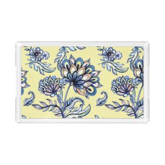 Premium watercolor hand drawn floral batik pattern acrylic tray