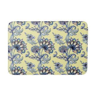 Premium watercolor hand drawn floral batik pattern bath mat