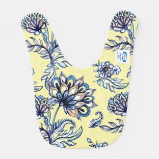 Premium watercolor hand drawn floral batik pattern bib