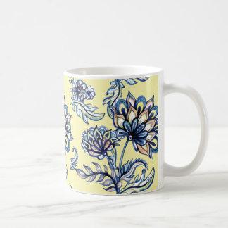 Premium watercolor hand drawn floral batik pattern coffee mug