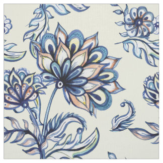Premium watercolor hand drawn floral batik pattern fabric