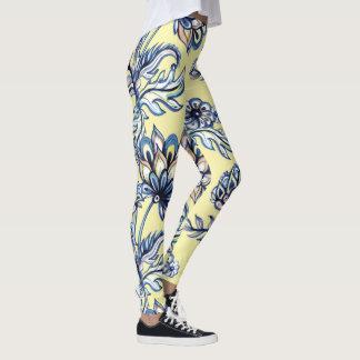Premium watercolor hand drawn floral batik pattern leggings
