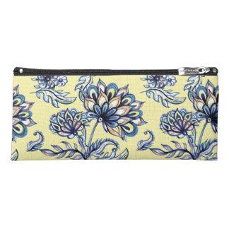 Premium watercolor hand drawn floral batik pattern pencil case