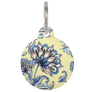 Premium watercolor hand drawn floral batik pattern pet name tag