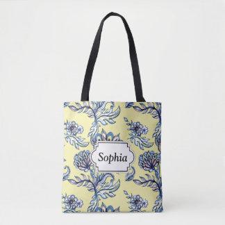 Premium watercolor hand drawn floral batik pattern tote bag