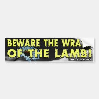 Prenez garde de la colère de l'agneau ! autocollant de voiture