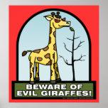 Prenez garde de l'affiche mauvaise de girafes