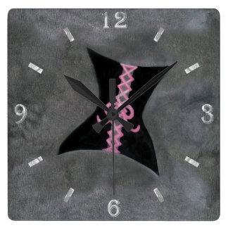 Preoccupied Decor   Black Corset Pink Ribbon   Square Wall Clock