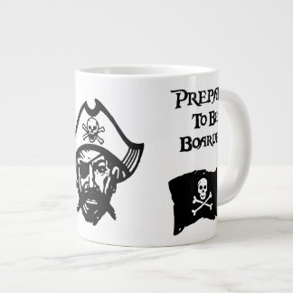 Prepare to be Boarded Black Jolly Roger & Face Large Coffee Mug