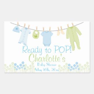 Préparez au POP ! Baby shower de corde à linge de Sticker Rectangulaire