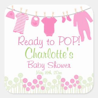 Préparez au POP ! Dentelez le baby shower de corde Sticker Carré
