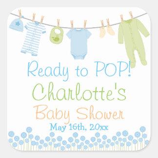 Préparez au POP ! Lil vêtx le baby shower bleu et Sticker Carré