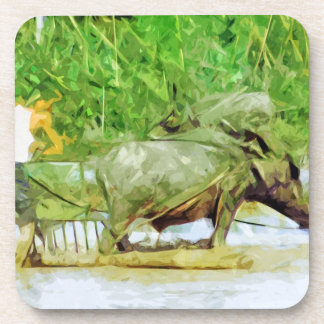 Preparing Rice Fields With Oxen Abstract Beverage Coasters