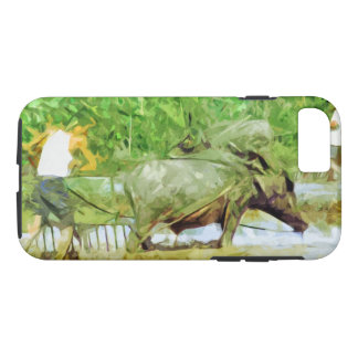 Preparing Rice Fields With Oxen in China Abstract iPhone 7 Case