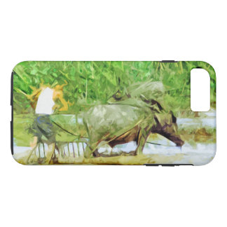 Preparing Rice Fields With Oxen in China Abstract iPhone 7 Plus Case
