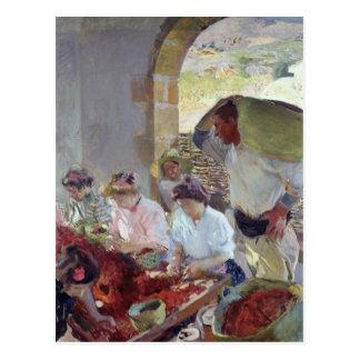 Preparing the Dry Grapes, 1890 Postcard