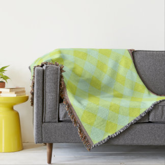 Preppie*-Pool-House-Argyle-Lime-Blue-Blanket Throw Blanket