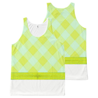 Preppie*-Pool-House-Argyle-Lime-Blue_Casual All-Over-Print Tank Top