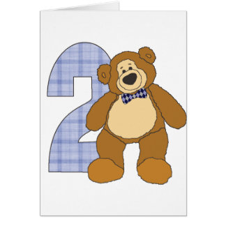 Preppy 2 Year Old Teddy Bear with Bow Tie Card