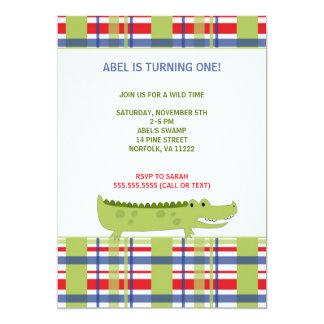 Preppy Alligator Birthday Party Invite