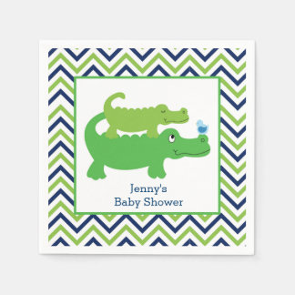 Preppy Alligator Chevron Stripe Napkin Paper Napkin