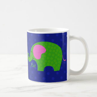 Preppy and Cute Pink and Green Elephants Mug