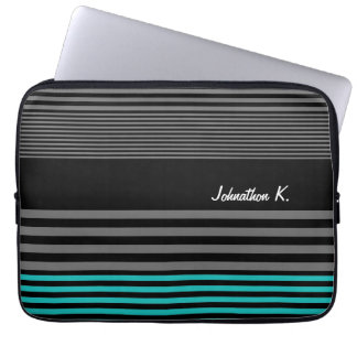 Preppy and Fresh Teal Stripes With Name Laptop Sleeve