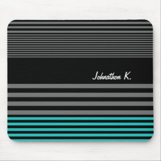 Preppy and Fresh Teal Stripes With Name Mouse Pad