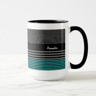 Preppy and Fresh Teal Stripes With Name Mug