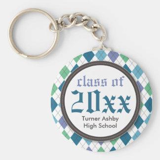 Preppy Argyle Customized Graduation Keychain: blue Basic Round Button Keychain