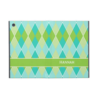 Preppy Argyle Diamond Fun Prep Modern Personalized iPad Mini Cover