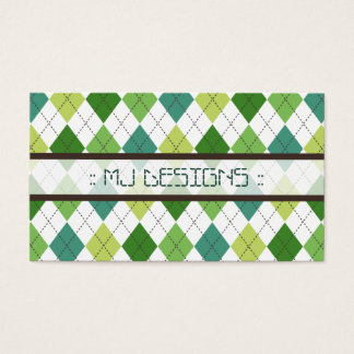 Preppy Argyle Diamond Pattern Business Card: green Business Card