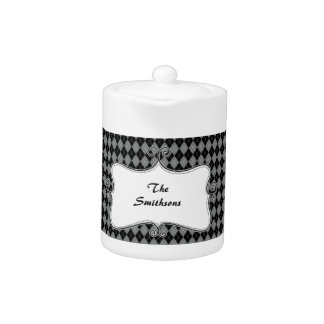 preppy argyle gray and black personalized