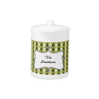 preppy argyle green and cream personalized