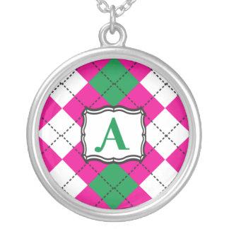 Preppy Argyle Monogram Necklace
