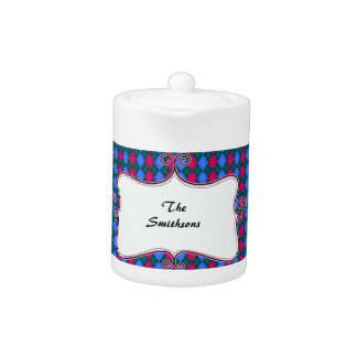 preppy argyle pink and blue personalized