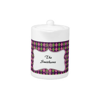 preppy argyle pink and purple personalized