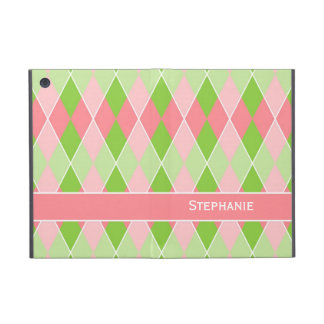 Preppy Argyle Plaid Fun Prep Modern Hot Pink Lime iPad Mini Cases