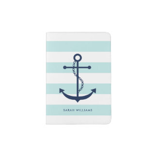 Preppy Baby Blue and Navy Anchor Passport Holder