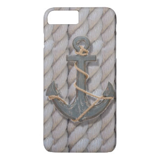 preppy beach rope navy wooden anchor nautical iPhone 7 plus case