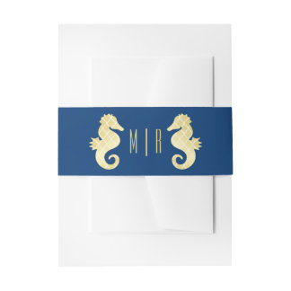 Preppy Beach Seahorse Navy Gold Monogram Wedding Invitation Belly Band