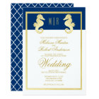 Preppy Beach Seahorse Navy Gold Wedding Card